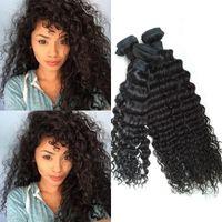 indisches haar 12 zoll lockig großhandel-Indisches lockiges Jungfrau-Haar nur 3pc Los-indische Haar-tiefe lockige Webart 8-30 Zoll schwarzes rohes Jungfrau-indisches Haar tiefe Locken-Webart G-EASY