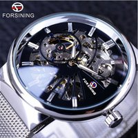 Wholesale Winner Mens Hand Wind Watches - Forsining 2017 Fashion Casual Neutral Design Silver Steel Transparent Case Skeleton Watch Mens Watch Top Brand Luxury Mechanical