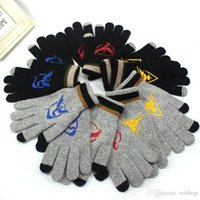 Wholesale Black Gloves For Kids - 100pcs Poke Go Wool Gloves Team Valor Instinct Mystic Logo Winter Gloves Black Gray Ski Gloves Pair For Kids Women Men Fans Gift