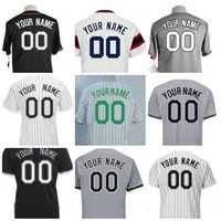Wholesale Custom Cooling - Baseball Jerseys Men's Chicago Customized Majestic Black White Grey Green Flexbase Cool Base Authentic Custom Jersey Size S-4XL