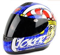 Wholesale Yohe L Size Helmet - YOHE Full Face motorcycle helmet Mens winter run motorbike helmets YH-993 Clown Joker white blue color size S M L XL XXL