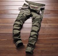 армейские брюки тонкие оптовых-Новая армия зеленый велосипед джинсы мужская мода плиссированные стрейч джинсовые узкие джинсы молния украшения тонкий лоскутное брюки длинные брюки #004
