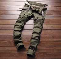 Wholesale L Decoration - New Army Green Bike Jeans Men's Fashion Pleated Stretch Denim Skinny Jeans Zipper Decoration Slim Patchwork Pants Long Trousers #004