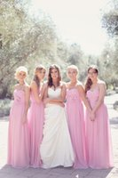 Wholesale Bridesmaid Dress 22 - 2016 Popular Simply Appliqued Long Bridesmaid Dress Pink Chiffon A Line Formal Wedding Party Gown Custom Made 2 4 6 8 10 12 14 16 18 20 22++