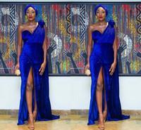 modelos de patas largas al por mayor-Nigeria Modelo pieza azul sirena de terciopelo a piernas largas Abra el tenedor y el vestido de baile especial árabe sexy