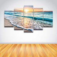ingrosso dipingere le onde marine-Stampato tramonto paesaggio marino blu mare onda livello spiaggia di sabbia foto su tela dipinto per arredamento muro soggiorno Stampa artwork poster