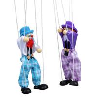 ingrosso bambole di pagliacci-Hot 1 Pz Kids Classic Divertente pagliaccio di legno Pull String Puppet Vintage Joint Activity Doll Bambini Carino Marionette Colore casuale