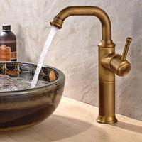 Wholesale Bathroom Faucets Antique Bronze Finish - Antique Brass Finish Bathroom Basin Faucet Single Hole Mixer Taps Deck Mount Lavatory Vessel Sink Faucet