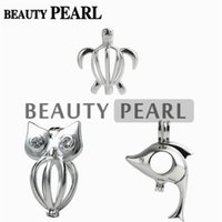 3 Pieces Gift Cage 925 Sterling Silver Locket Love Wish Pearl Lovely Dolphin Turtle Owl Pendant Cage