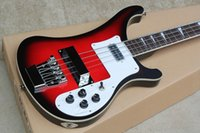 RIC Custom Red Black Edge 4 cuerdas 4003 Electric Bass Chrome Hardware White Pearloid Triangle Fingerboard Inlay White Pickguard