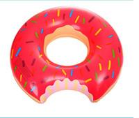 flotadores de agua inflable envío gratis al por mayor-60cm niños inflables nadar piscina flotante libre del anillo de la fresa dona deportes acuáticos anillo de flotación swimg envío niños nadan juguete de la piscina