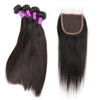 Wholesale Mocha Brazilian Straight - 10A Malaysian Straight Hair With Closure 4 Bundles With Closures Cheap Human Hair With Closure Straight Mocha Hair Weave Free shipping