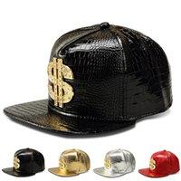 Wholesale Dollar Snapback - New Snapback Baseball Caps Dollar Alloy Diamond Flat Hip Hop Hat Adult PU Leather Bone Snapback Cap For Men Women Casquette Gorras