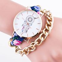 relojes indios al por mayor-2016 Indian Boho Nueva Mujeres Relojes de pulsera Flor Dreamcatcher Dream Catcher Reloj Leather Gold Chains Ladies Pulsera Reloj