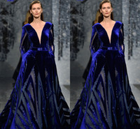 royalblau lange röcke großhandel-Ziad Nakad Long Sleeve Abendkleider 2018 Modest Sexy Tiefem V-Ausschnitt Nahen Osten Dubai Arabisch Royal Blue Puffy Rock Plus Size Abendkleid