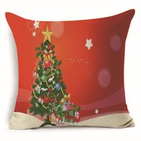 Wholesale Cars Christmas Ornament - Christmas Cushion Cover Pillow Case Pillowcase Sofa Office Ornament Home Decor Car Tree Printing Linen Decorative Decoration Gift Flax