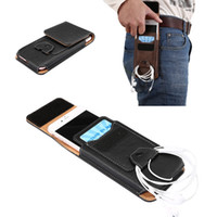 Wholesale Leather Elephant Bag - Retro Elephant Grain Waist Bag With Card Slots Buckle Universal 5.1 to 5.5 Inch PU Leather Flip Case For iPhone Samsung OppBag