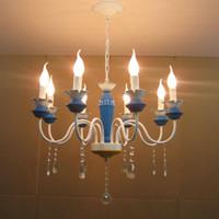 "Wholesale Iron European Chandeliers - European 21"" Blue Painted Iron Lamp Body Living Room Chandeliers Dining Room Chandelier Restaurant Chain Pendant Lamp Fixtures"