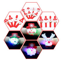 Wholesale red slap bracelets - Christmas Slap Bracelets Gift Xmas Santa Claus Snowman Toy Slap Pat With LED Light Circle Bracelet Wristhand Decoration Ornament
