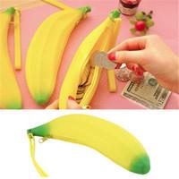 ingrosso borsa della moneta del portafoglio hobo-Simpatico portamonete in silicone Banana Little Wallet Studente con portamonete Portafoglio piccolo Hobos Borse per StudenteDonnaGirls