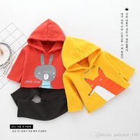Wholesale korean style casual clothing online - 2 color New arrival autumn winter clothes Korean style keep warm high quality cotton sets cute Cartoon fox rabbite hooded suit