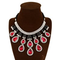 Wholesale Garnet Statement Necklace - Elegant Women's Multi-layer Torsade Fringe White Simulated Pearl Chain Statement Necklace Pendant Women Jewelry for Gift Party