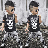 Wholesale Boys Leopard Pants - 2pcs Newborn Toddler kids short sleeve skull sets Infant Baby Boys Girls Clothes T-shirt Tops+Pants Outfits Set