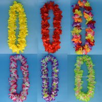 Vente en gros - Hawaiian Flower leis Garland Collier Fancy Dress Artificial Flower Wedding Party Hawaii Beach Headband Hallowmas Christmas