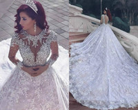 Wholesale pnina tornai wedding dresses sleeves online - 2017 New Pnina Tornai Wedding Dresses Dubai Arab Vintage Long Sleeve Bling Crystals Wedding Gowns Sequins Tulle Court Train Bridal Dress