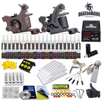 Wholesale Tattoo Gun Tips - Wholesale Tattoo Kit 2 Machine Guns 40 Color inks Power Supply & power cord tube tip needles HW-10GD-8