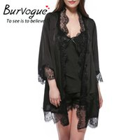 Wholesale Sexy Kimono Deep V - Burvogue Sexy Nightwear Silk Bathrobes Deep-V Sleepwear Sexy Lace Satin Bride Robes Kimono Satin Nightgown Robe Sets for women