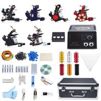 Wholesale Pin Stores - Professional Tattoo Kit 6 Machine Guns Shader Liner Power Supply 50 Needles Tip with Store Box Tattoo Set Three Pin US Plug