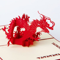 Wholesale Greeting Card Theme Christmas - hot Animal Theme Dragon Handmade 3D Pop UP Greeting Cards For Birthday Greeting & Gift Greeting Cards Free Shipping