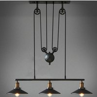 Wholesale Head Pulley - American Country Style Pulley Designed Droplight Antique Retro Iron Pendant Ceiling Lighting Adjustable Wire Lamps 1-3 Heads For Choice