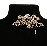 Mulheres Vintage Pine Tree Broche de pérolas Pin Gold / Silver Plated Clothes Sweater Broches Pin Jóias