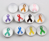 Wholesale cancer blue ribbon - 18mm Ginger Glass Ribbon Snaps Button DIY Interchangeable Pink Ribbon Buttons Breast Cancer Awareness Snaps Buttons For Bracelet Rings