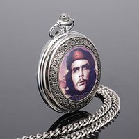Wholesale Silver Quartz Pocket Watch - high quality Wholesale Hot Sale Che Guevara fashion retro quartz pocket watch Best gift for Lady men student