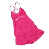 Wholesale Satin Babydoll Nightwear - Wholesale- Fashion Women Casual Satin Lace Robe Shorts Babydoll Women Sleepwear Nightwear Pajamas Set