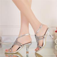 offene zehen silber hochzeit sandalen großhandel-Knöchelriemen Sandalen High Heel Open Toe Schuhe Strass Braut Hochzeit Schuhe Plus Size Party Prom Tanzschuhe Gold Silber