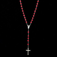 ingrosso catena di bead jesus-Gesù croce ciondolo preghiera perline catena collana dichiarazione croce cristiana collane lunghe per le donne / uomini DHN406