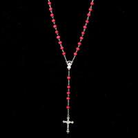 perlenkette jesus großhandel-Jesus Kreuz Anhänger Gebetskette Kette Aussage Halskette Christian Kreuz Lange Halsketten Für Frauen / Männer DHN406