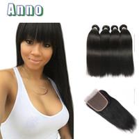 Wholesale Cheap Peruvian Straight Hair - 7A Peruvian Straight Hair With Closure 4 Bundles With Closures Cheap Human Hair With Closure Peruvian Virgin Hair