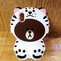 Wholesale Phone Case Rubber Cartoon - 3D Bear Dinosaur Brown Bear Cartoon Soft Silicone Case For IPhone X 8 7 Plus 6 6S 6+ 8G 7G Rubber Cute Lovely Cell Phone Back Skin Cover