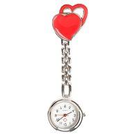 corazón de bolsillo de acero al por mayor-Doble corazón Enfermera Reloj de Cuarzo Doctor Relojes de Bolsillo de Acero Reloj de Bolsillo Dulce Corazón Colgando Enfermera Relojes de Moda relojes médicos
