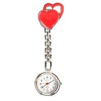montres de bonbons achat en gros de-Double coeur infirmière montre Quartz Doctor Pocket montres montres en acier Fob Sweet Heart suspendus infirmière montres montres montres de mode