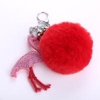 ingrosso animal fur purse-Simpatici animali fenicottero pelliccia di coniglio palla soffice giocattoli pendenti portachiavi in metallo portachiavi auto portachiavi borsa charms pendente della borsa regalo di moda