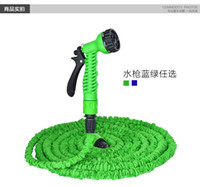 Wholesale Car Wash Guns - 25FT 125FT Expandable Magic Hose Garden Water Car Wash Hose Spray Gun Wash Pipe Rubber Retractable Watering Expandable Hoses With OPP Bag