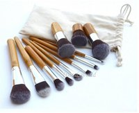 cepillo de madera para cimientos al por mayor-Herramientas de maquillaje profesional DHL 11 piezas Pincel Maquiagem Maquillaje de mango de madera Cosmética Sombra de ojos Kit de cepillo corrector Fundación