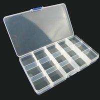 boîte transparente en plastique achat en gros de-500 pcs 15 grilles Transparent Réglable Slots Bijoux Perle Organisateur Boîte De Stockage en plastique bijoux boîte de rangement Par DHL