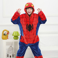 Wholesale Men Leopard Sleepwear - Spider-man Red Blue Adults Animal Pajamas 2017 New Style Hoodies Long Sleeve Unisex Adults Flannel Warm Sleepwear Onesies Cosplay Costumes